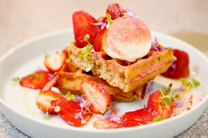 Coffee waffles with fresh, freeze-dried and  macerated strawberries.