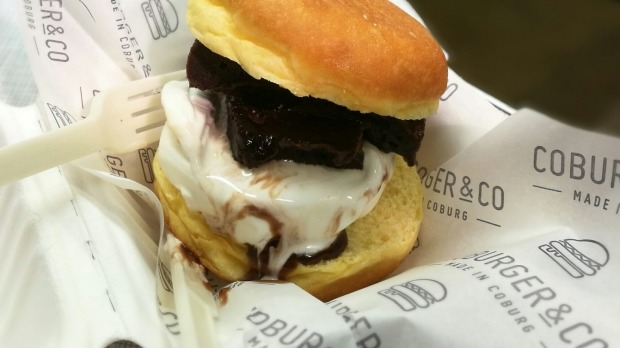 The donut, brownie ice-cream burger is a mouthful at $7.