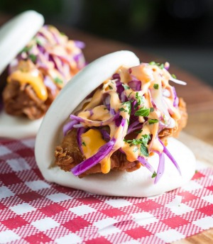deepfried chicken and sriracha mayo bao from the bao bros