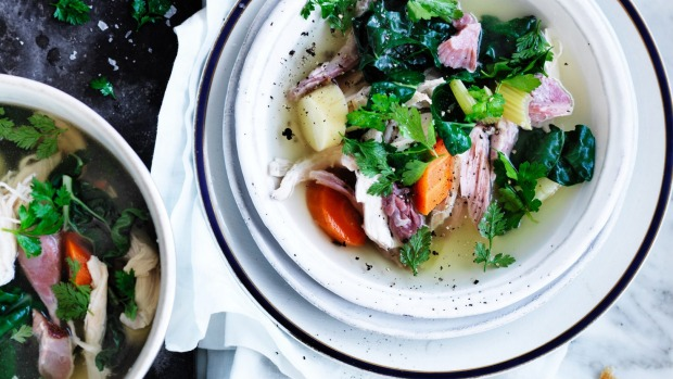 Neil Perry's 'spring' pot au feu with poached chicken breast.