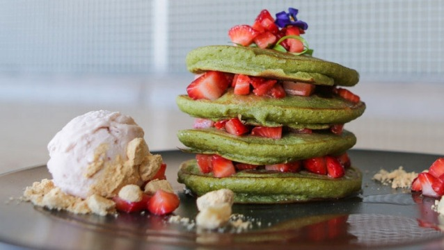 Matcha pancake stack with chocolate sauce from Matcha Mylkbar in Melbourne.
