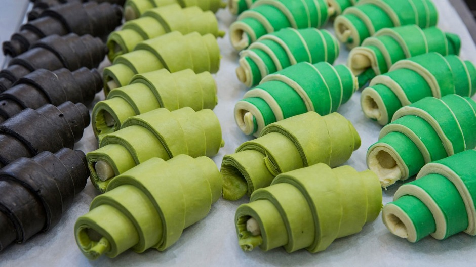Matcha croissants (centre) ready to be baked at Agathe Patisserie.