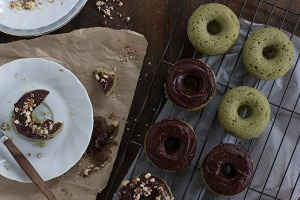 Vegan matcha doughnuts with chocolate ganache.