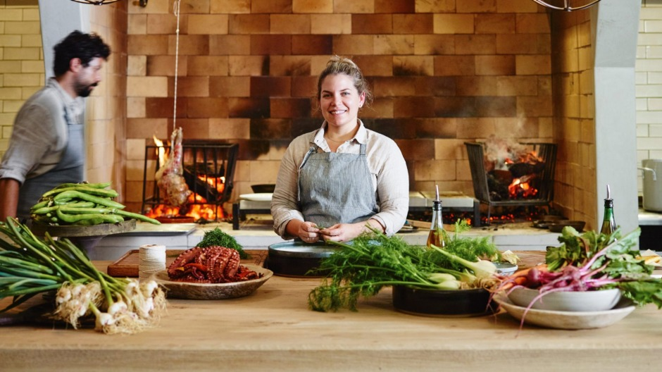"""""""It's right in the middle, it's the heartbeat of the place,"""" says Danielle Alvarez about the hearth and open kitchen ..."""