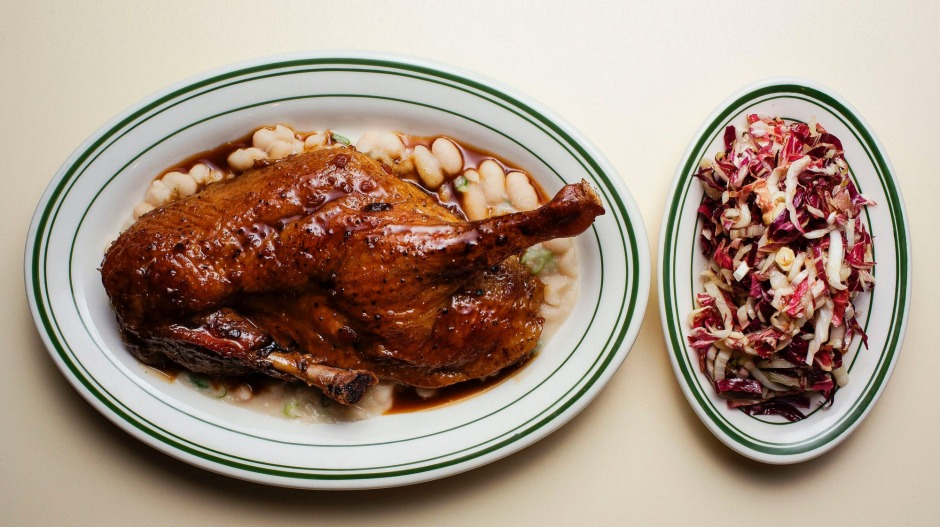 Pot roasted duck with white beans