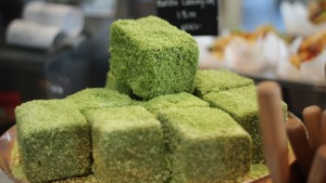 Matcha lamingtons at Oratnek Cafe.