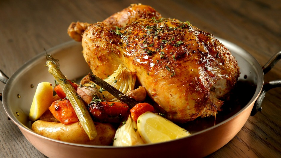 Burnished bird: rotisserie chicken with gravy and vegetables.