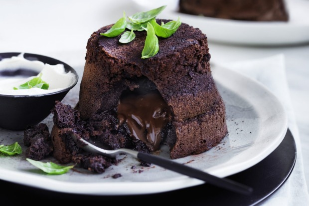 Chocolate fondant puddings with basil cream <a ...