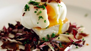 Fried tofu with poached egg and radicchio.