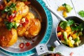 Adam Liaw's squashed potatoes with avocado salsa.