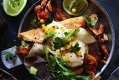 Neil Perry's chicken flautas with sweetcorn and avocado salsa.
