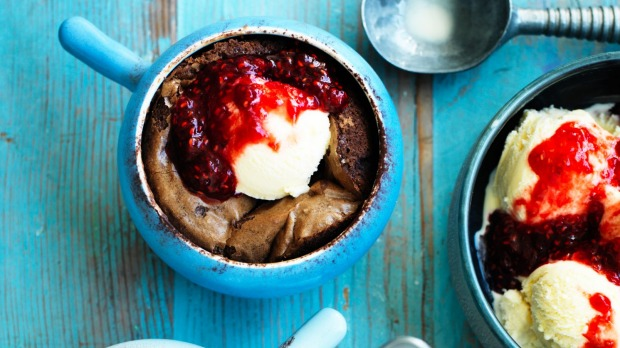 Rachel Khoo's chocolate brownie pots with raspberry compote.