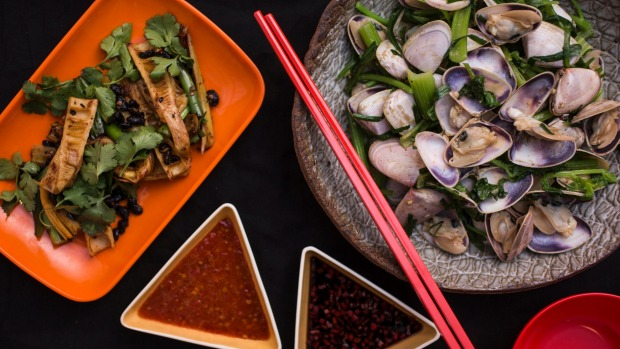 Stir-fried pipis with white pepper, and baby bamboo stems with blackbean and chilli.