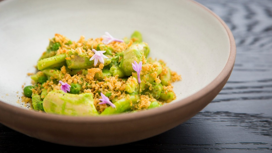 Hand-rolled rabbit casarecce pasta gets its magnificent green from the peas and nettles.