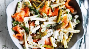 Adam Liaw's pasta salad: Smoked salmon and cornichons with yoghurt, sour cream and dill.
