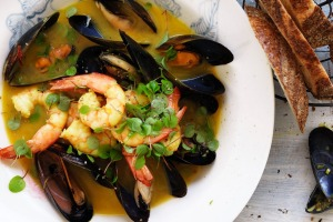 Neil Perry's prawn and mussel saffron stew.