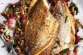 Neil Perry's pan-fried snapper with warm Sicilian salsa.