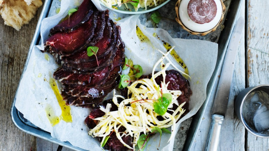 Fergus Henderson's perfect picnic fare: Cured beef and celeriac.