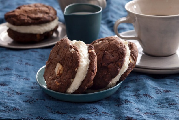 Jill Dupleix's chocolate-chip cookies sandwiched with white chocolate mousse <a ...