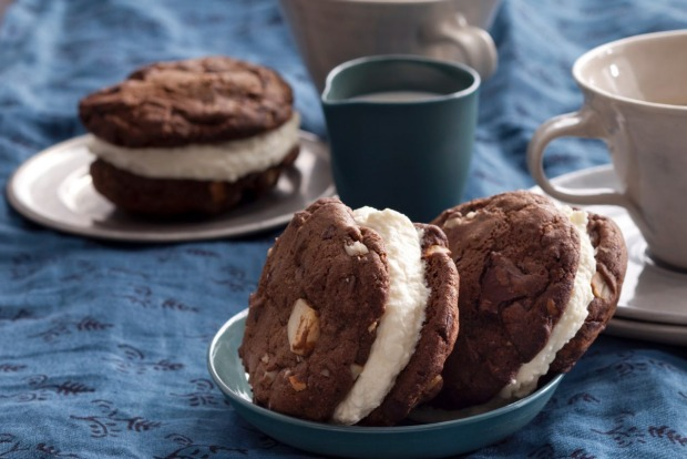 Chocolate chip cookies sandwiched with white chocolate mousse. <a ...