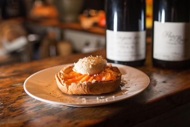 Gorgeous: house-made puff pastry with creme anglaise and new-season peaches at <a ...