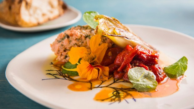Ocean trout rillettes with red pepper relish and  charred endive.