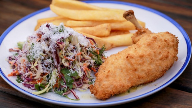 Counter meal classic: Chicken kiev, coleslaw and chips.