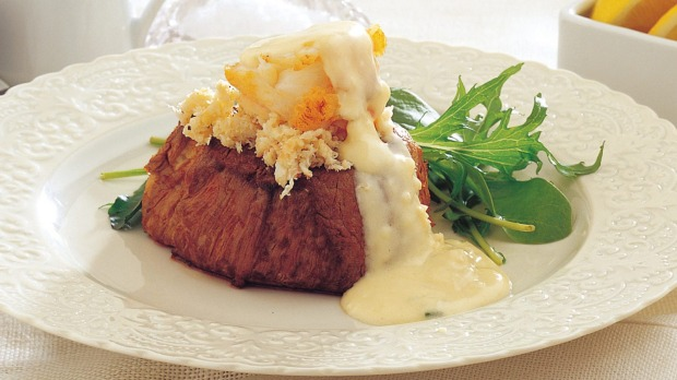 Turf And Surf >> Surf N Turf Steak And Lobster With Lemon Mustard Sauce Recipe