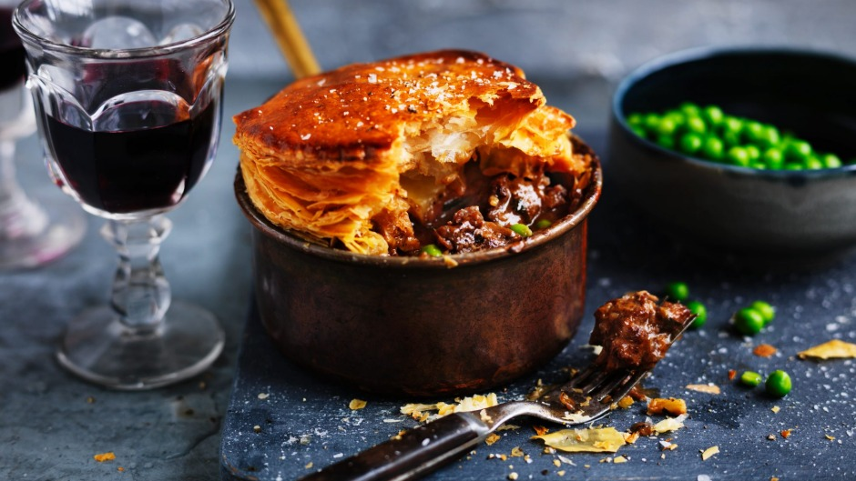 Neil Perry's beef chuck pie with peas. Yes please!