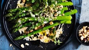 Neil Perry's asparagus and hazelnut salad with creamy anchovy, chili and lemon.