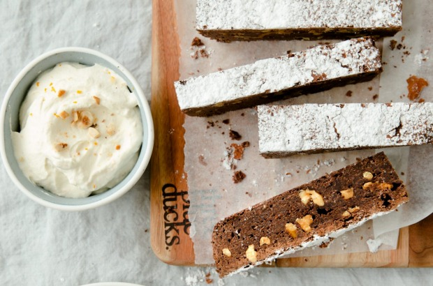 Three Blue Ducks' chocolate brownie slab with walnuts and whisky cream <a ...