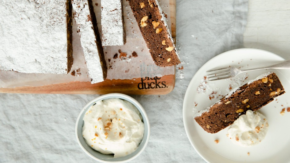 "Three Blue Ducks' ""too good to share"" chocolate and walnut brownie with whisky cream."