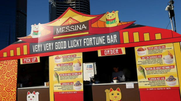 Exterior of Gelato Messina's 'Very Very Good Lucky Fortune Bar' at the Night Noodle Markets.