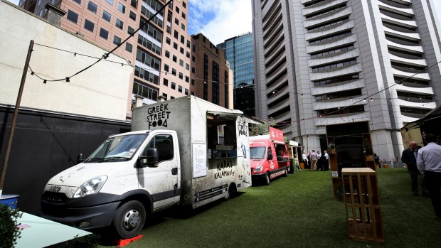 The Food Truck Park pop-up site in Collins Street.
