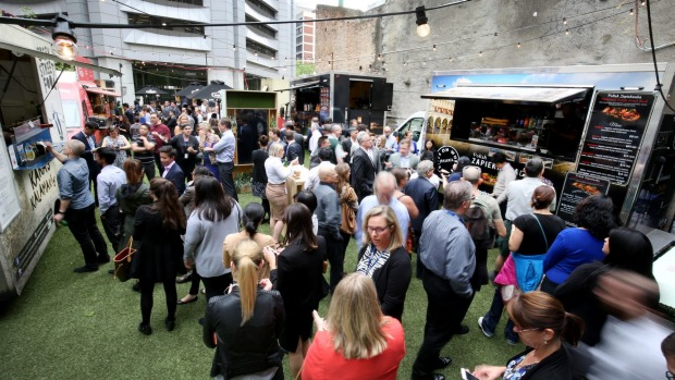 Crowds at the Food Truck Park Collins Street Pop-Up.