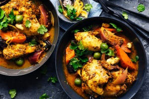 Neil Perry's chicken and green olive tagine.