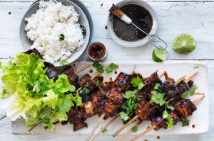 Jill Dupleix's spicy sambal pork belly skewers.