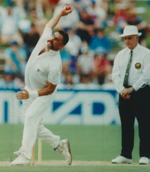 Merv Hughes bowling against the West Indies at Adelaide in January, 1993.