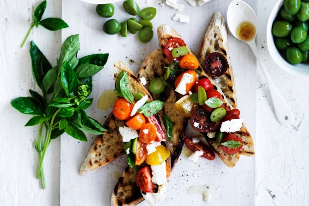 Neil Perry's bruschetta with cherry tomatoes, basil, olives and feta <a ...