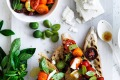 Food. Neil Perry's bruschetta with cherry tomatoes, basil, olives and feta. SMH GOOD WEEKEND Picture by WILLIAM MEPPEM ...