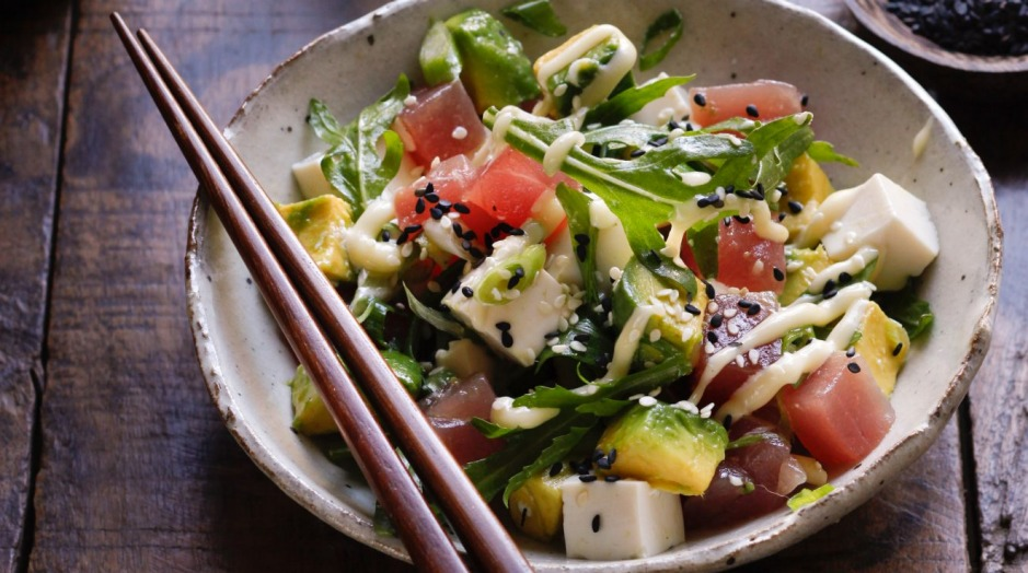 A simple Japanese-inspired salad dressed with wasabi cream.
