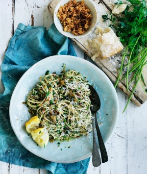 Neil Perry's spaghetti with garlic, pangrattato and parsley.