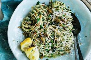 Neil Perry's spaghetti with garlic, pangrattato and olive oil.