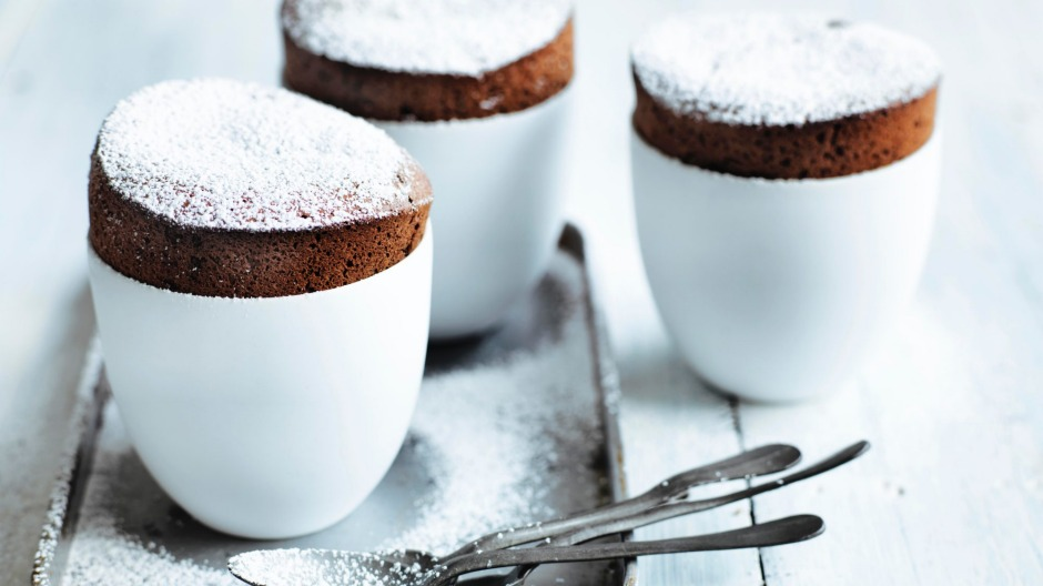 Jill Dupleix's simple flourless chocolate and almond souffles.