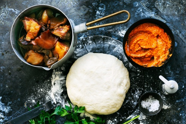 Char-grilled calzone stuffed with ajvar and slow-cooked pork. <a ...