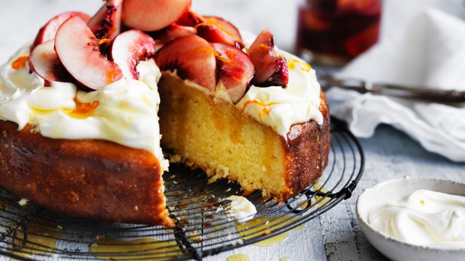 Neil Perry's Coconut and Yoghurt Cake with Fresh Peach Compote.