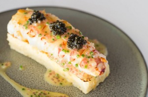 Champagne lobster, French toast, Sterling caviar and finger lime at Aria in Sydney.