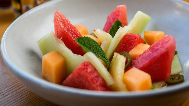 Summer salad: Escabeche melon salad with pickled pineapple and jalapeno.