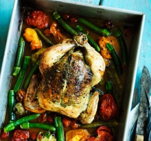 Rachel Khoo's herb butter roast chicken with summer vegetables recipe.