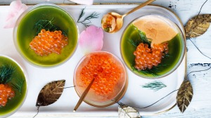 Jill Dupleix's Christmas starter: Smoked salmon mousse with herb jelly.